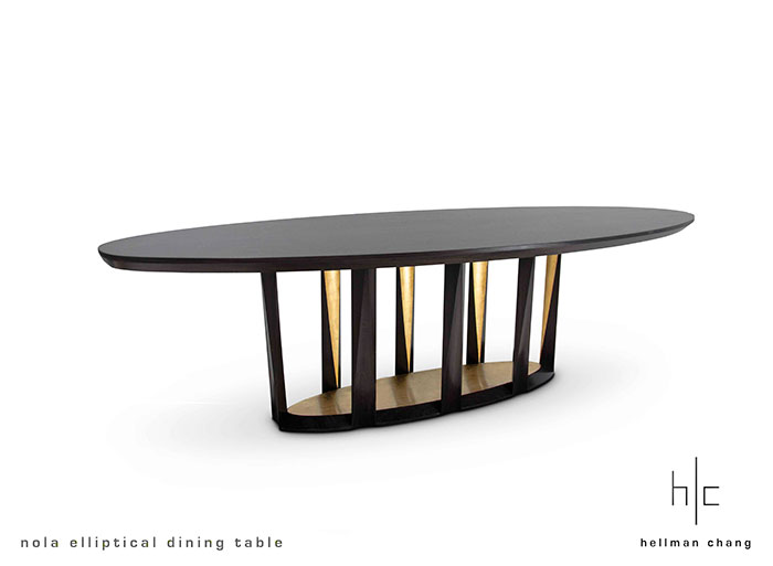 Nola Elliptical Dining Table Hellman Chang : HCNolaElliptical Dining TableEbonized Walnut Gold Leaf01 from www.hellman-chang.com size 700 x 513 jpeg 23kB